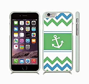 iStar Cases? iPhone 6 Plus Case with Chevron Pattern Ocean Blue/ Light Green/ White Stripes, With White Anchor , Snap-on Cover, Hard Carrying Case (White)