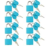 VIP Home Essentials - Small Mini Durable ABS Covered Solid Brass Body Individually Keyed Padlock - 8 Pack Lock Set - Blue