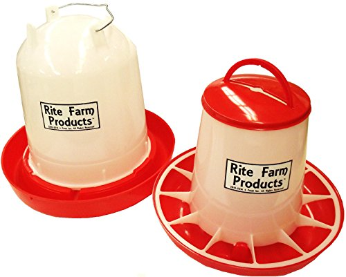COMBO LARGE RITE FARM PRODUCTS 2.6 GAL & 13.2LB WATERER & FEEDER CHICKEN POULTRY