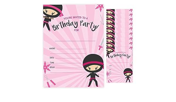 Tarjetas de invitación de cumpleaños para niña ninja estilo ...