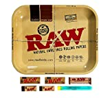RAW Rolling Tray Combo Includes RAW Tray, RAW 1 1/4 Classic Rolling Papers, RAW 79MM Roller, RAW Tips, and Roll with Us Doobtube