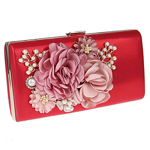 - Womens Floral Evening Bag Wedding Party Prom Clutch Purses Jeweled Handbags Red