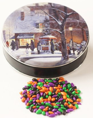 Scott's Cakes Halloween Mix Chocolate Covered Sunflower Seeds in a Mini City Sidewalks Tin