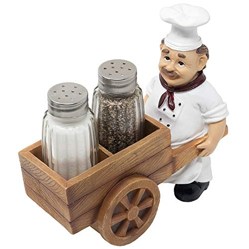 French Chef Pierre Pushing Faux Wooden Cart Salt and Pepper Shaker Set Display Stand Figurine for Decorative Diner Dining Room Table Centerpieces or Kitchen Décor Spice Racks As Wedding Gifts