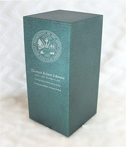 PERSONALIZED Engraved US Army Cremation Urn for Human Ashes - Made in America - Handcrafted in the USA by Amaranthine Urns, Adult Funeral Urn - Eaton DL (up to 200 (Metal Forest Green Powder)
