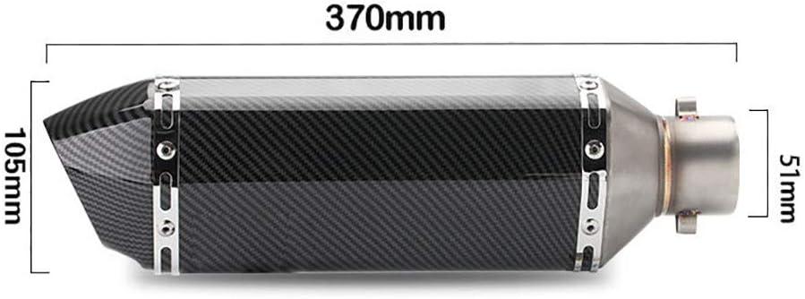 Motorrad-Auspuffschalld/ämpfer/f/ür Auspuffrohre mit einem Durchmesser von 51 mm 11.8 2 Geeignet f/ür /Änderungen an Motorr/ädern und ATVs wie Yamaha//Suzuki//Honda,BlackT