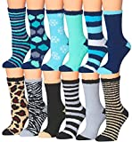 Tipi Toe Women's 12-Pairs Patterned Colorful Soft Anti-Skid Fuzzy Winter Crew Socks, (sock size 9-11) Fits shoe size 6-9, FZ05-12