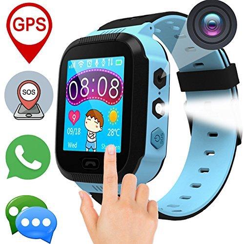 Kids Phone Smart Watch - Ereon SOS GPS Tracker Kids Smartwatch 3-14 Years Girls Boys Touch Screen Summer Outdoor Camera Anti Lost Digital Wrist Watch Bracelet iOS Android Summer School