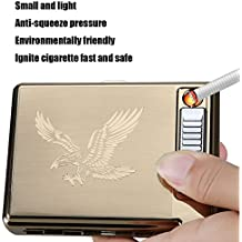 Moonwbak Cigarette Case Lighter, Metal Full Pack 20 Regular Cigarettes Box Holder USB Rechargeable Cigar Lighter Flameless Windproof with USB Cable Best for Birthday Gifts