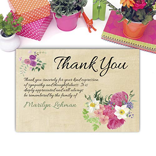 (Sympathy Acknowledgement Cards, Funeral Thank You and Bereavement Notes Personalized )