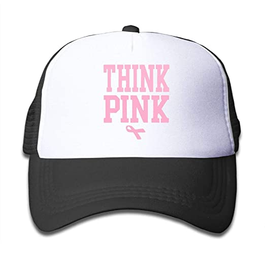 7bd569d8ad7ce Amazon.com  Think Pink Breast Cancer Awareness with Ribbon Kids Girls Boys  Adjustable Mesh Cap Hip Hop Caps Trucker Hat  Clothing