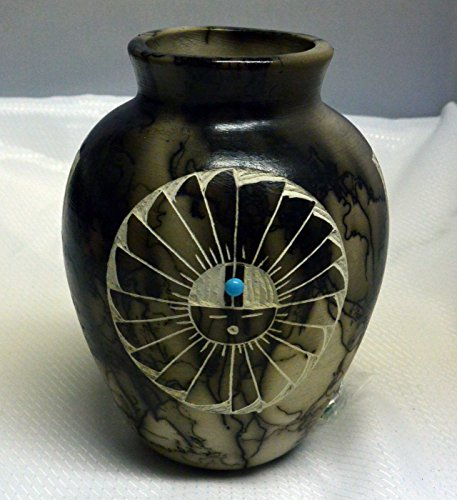 All Tribe Silver Navajo Horse Hair Pottery Hand Etched Ginger Jar Vase (Etched Pottery Navajo)