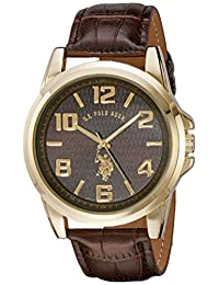 U.S. Polo Assn. Classic Men's USC50167 Gold-Tone Watch with Brown Band