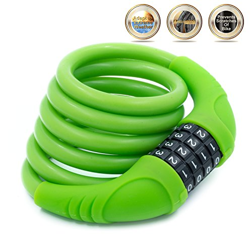 - SUSEMSE Silicone Covered Bike Cable Lock G503 Self-Coiling 4.43FT10MM UV Resistance Anti Scratch Resettable 4-Digit Combination Bike Lock for Sporting Bicycle Cycling (Green)