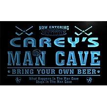 qe589-b Carey's Man Cave Hockey Bar Beer Neon Sign