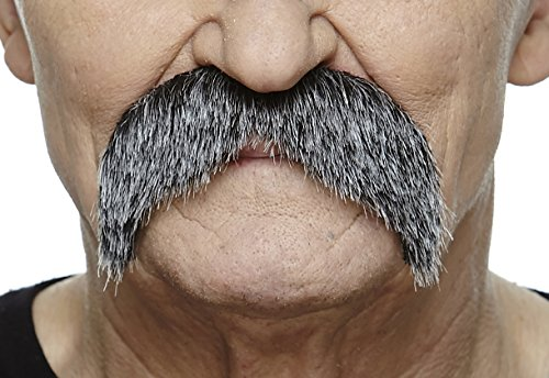 Mustaches Self Adhesive Fake Mustache, Novelty, Walrus False Facial Hair, Costume Accessory for Adults, Costume Accessory for Adults, Salt and Pepper Color ()