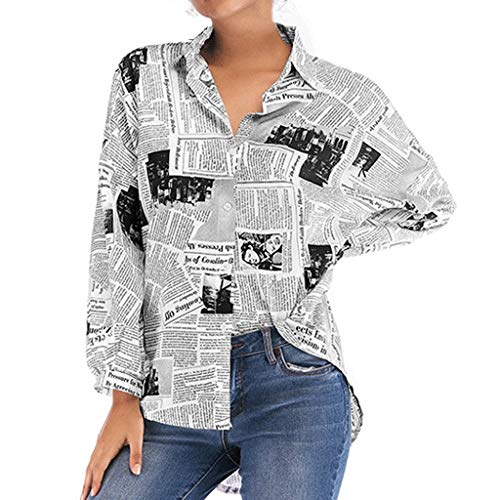 Womens Button Down Shirts, Letter Print Casual Long Sleeve T-Shirt, Fashion News Paper Style Blouse Tee Tops Black