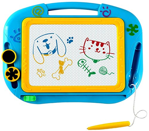 EEDAN Magnetic Magna Doodle Drawing Board for Kids - Colorful Sketch Erasable Tablet Education Writing Pad with 2 Magnet Shapes - Gift for Little Girls Boys Kids Children Travel Size (Blue) ()