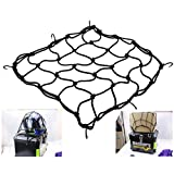Pack of 2-40 x 40cm Black Heavy-Duty Elasticated Bungee Luggage Cargo Net Motorcycle Bike Equipment Cargo with Hooks