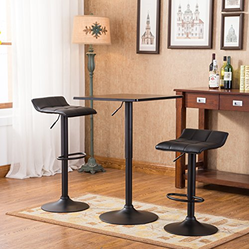 Belham Black Square Top Adjustable Height with Black Leg And Base Metal Bar Table and 2 Swivel Black Bonded Leather Adjustable Bar Stool Bar Sets Review