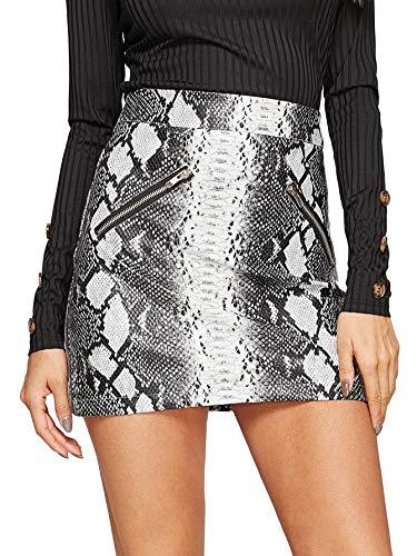 WDIRARA Women's Snakeskin Print High Waist Above Knee Zipper Front PU Skirt Multicolor S