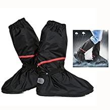 Itian Thicken PVC Reusable Zippered Women Men High Boots Waterproof Shoes Cover Winter Warm Snow Proof Shoes Covers Slip-resistant Water-resistant Foldable Shoes Cover For Motorcycle Garden Hiking Camping Climbing Outdoor Activities