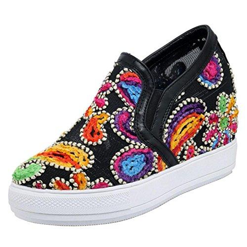 Women's Sneaker Shoes TAOFFEN Wedge Black 1 Heels 7Bd08