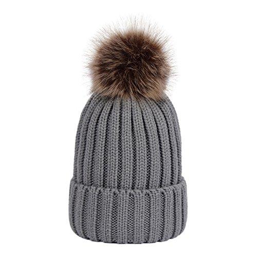 20364da849f Dikoaina Womens Girls Winter Fur Hat Large Faux Fur Pom Pom Beanie Hats - Buy  Online in UAE.