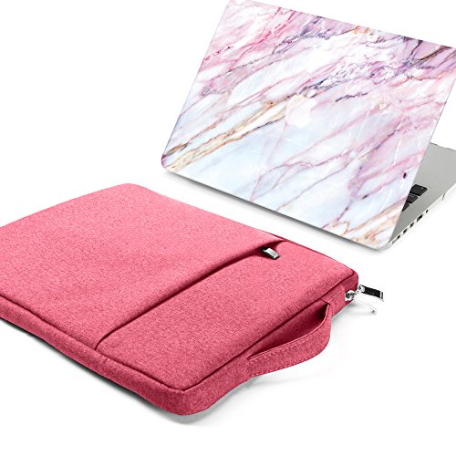 GMYLE 2 in 1 Bundle Pink Marble Soft-Touch Plastic Hard Case for Old MacBook Pro 13 Inch with Retina Display (Model: A1502/A1425) & Water Resistant Protective Laptop Bag Sleeve with Handle,Pink by GMYLE (Image #1)