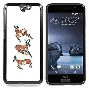 """For HTC One A9 Case , Cuerno de Venado Cazador blanco Bosque de Orange"""" - Diseño Patrón Teléfono Caso Cubierta Case Bumper Duro Protección Case Cover Funda"""