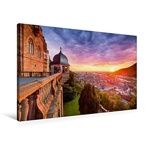 Calvendo Premium Textil-Leinwand 90 90 Textil-Leinwand cm x 60 cm Quer, Sonnenuntergang über Heidelberg   Wandbild, Bild auf Keilrahmen, Fertigbild auf Echter Leinwand, Leinwanddruck Orte Orte 136044