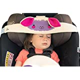 NoBob Child Car Seat Head Support & Travel Pillow, Safe and Cozy Sleep Solution for Cars, Lamb, Convertible Car Seat, Purple/Pink