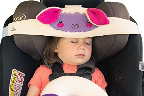NoBob Child Car Seat Head Support Travel Pillow Safe And Cozy Sleep Solution For Cars Lamb High Back Booster Purple Pink