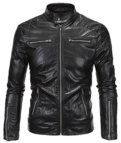 Youhan Men's Stand Collar Moto Biker Faux Leather - Plus Size Mens Leather Jacket