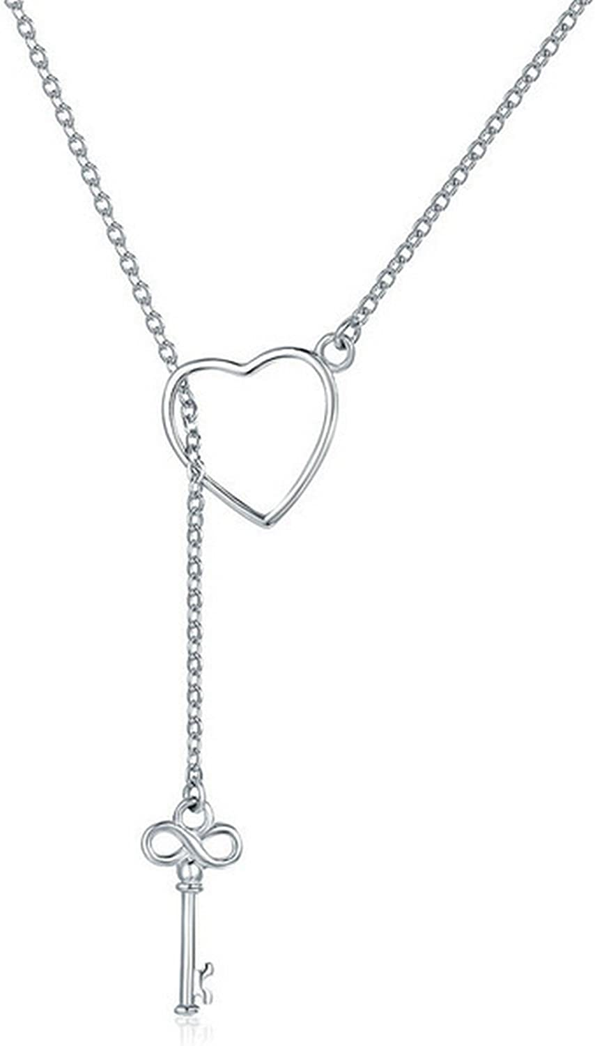 CS-DB Jewelry Silver Two Heart Chain Charm Pendants Necklaces
