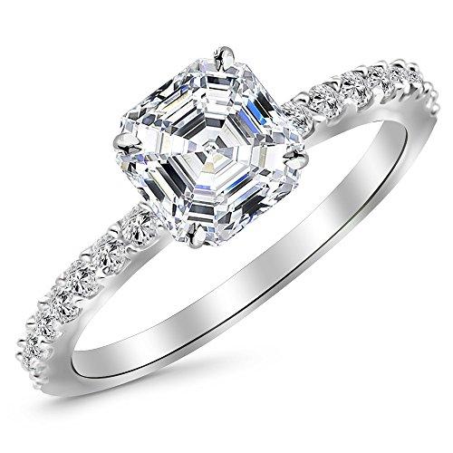 14K White Gold 1 CTW Classic Side Stone Pave Set Diamond Engagement Ring w/ 0.7 Ct Asscher Cut D Color SI1 Clarity Center - Asscher Cut Diamond Engagement Ring