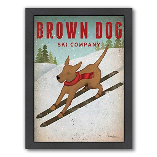Americanflat Brown Dog Ski Co Gallery Wrapped Canvas 12 H x 15 W [並行輸入品]   B07GZK6T1K