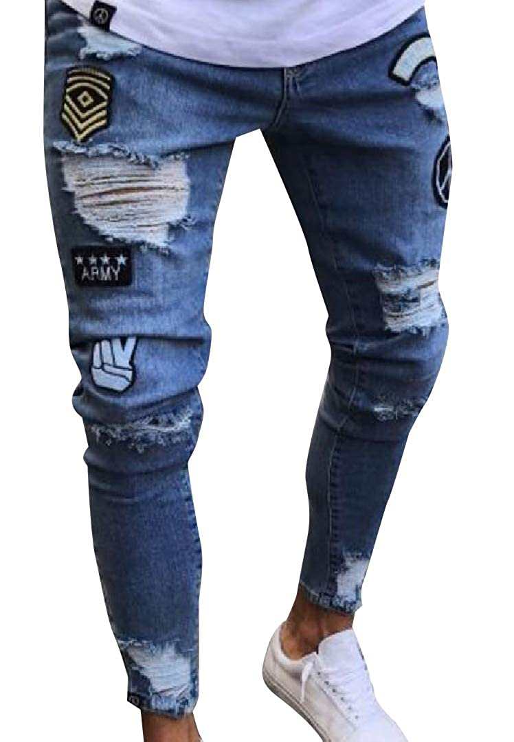 SportsX Men Destroyed Motorcycle Classic Fit High Street Jean Pants