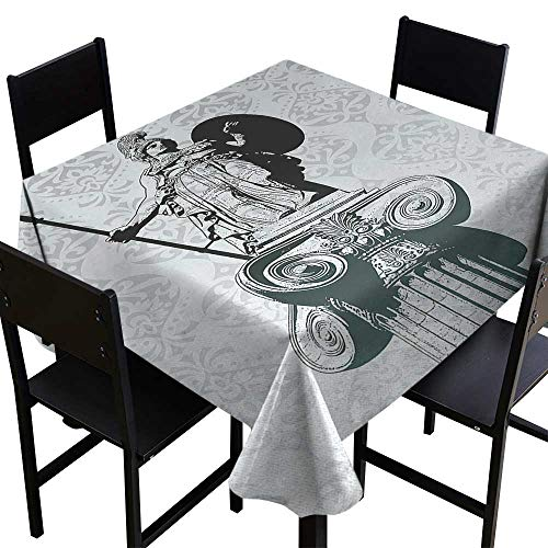 SKDSArts Square Table Cloth Sculptures,Statue of Athena on Baroque Background Ancient Greek Mythology,Black Dust Light Turquoise,W60 x L60 Square Tablecloth