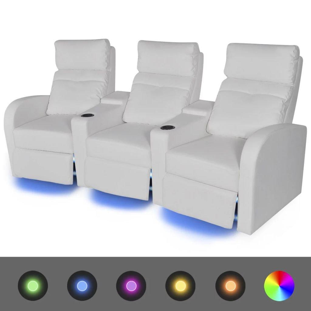 Furnituredeals Sofa de tela Sofas reclinables LED 2 uds 2+3 ...