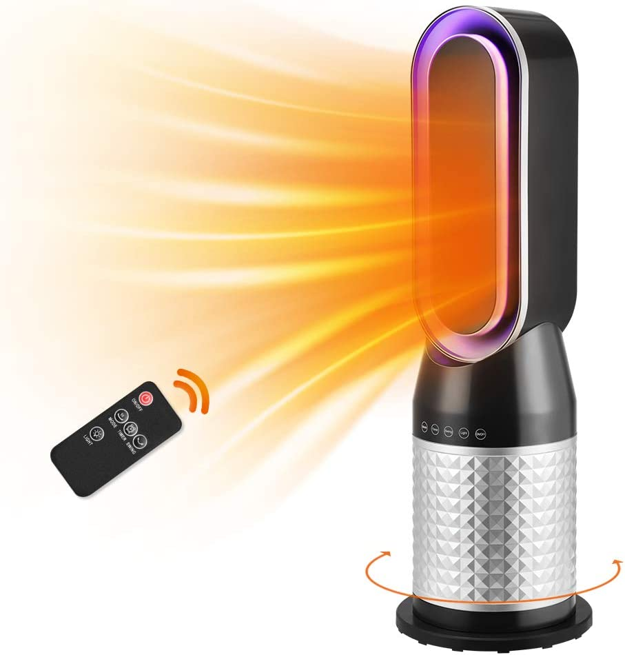 2-in-1 1500W Bladeless Space Heater & Tower FanCombo w/ Remote Control Thermostat Flame Retardant Tip-over, Ceramic Electric Heater 60°Oscillating 12H Timer Personal Heater for Indoor use Home Office