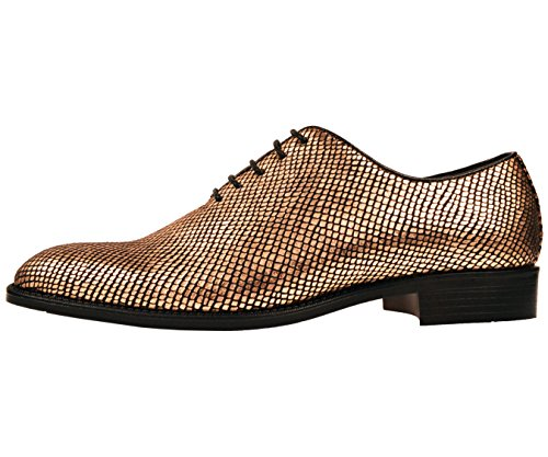 Bolano Mens Metallic Exotic Emboss Stampato Oxford Dress Shoe Style Brent Gold