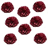 X-Sunshine Party Pom Poms Tissue Paper Flower 8pcs 12 inch Decorative Hanging Flower Balls Craft DIY Decoration for Home Wedding, Baby Shower, Birthday, Party Decorations (12inch-8pcs, Burgundy)