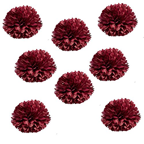 X-Sunshine Party Pom Poms Tissue Paper Flower 8pcs 12 inch Decorative Hanging Flower Balls Craft DIY Decoration for Home Wedding, Baby Shower, Birthday, Party Decorations (12inch-8pcs, Burgundy) by X-Sunshine