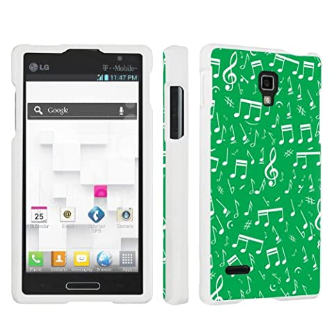 SkinGuardz Designer White Hard Case for LG Optimus L9 P769 - Music Note Apple Green (Lg L9 Music Case)