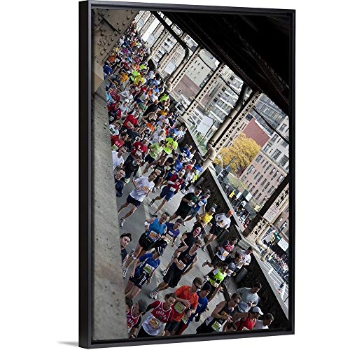(Paul J. Sutton Floating Frame Premium Canvas with Black Frame Wall Art Print Entitled Runners Crossing The 59th Street Queensboro Bridge During The 2009 NYC Marathon 24
