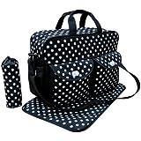 Black 3pcs Baby Diaper Nappy Changing Bag Set E:Polka Dot