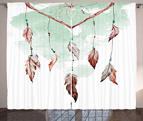 Ambesonne Feather Curtains, Watercolor Vibrant Dream Catcher with Ornamental Elements Traditional Design, Living Room Bedroom Window Drapes 2 Panel Set, 108 W X 63 L Inches, Mint Green Brown