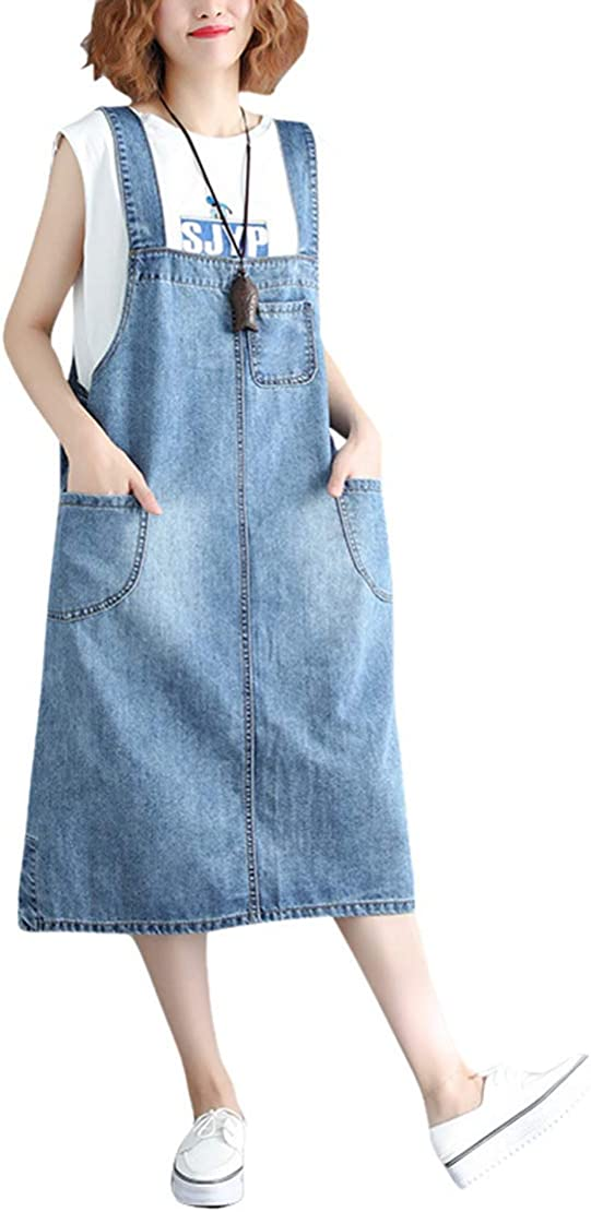 Women Wash Jean Dungaree Strap Dress Denim Braces Suspenders Slim Pinafore Skirt