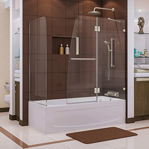 DreamLine Aqua Lux 56-60 in. W x 30 in. D x 58 in. H Frameless Hinged Tub Door with Return Panel in Brushed Nickel, SHDR-3348588-RT-04